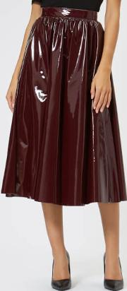 Women's Pvc Midi Skirt Burgundy It