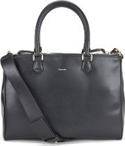Women's Leather Large Double Zip Tote Black