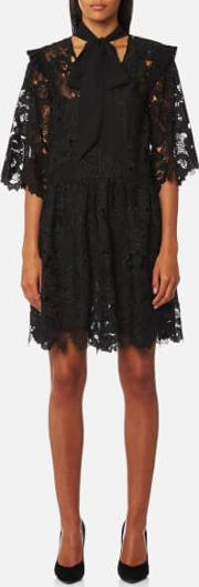 London Women's Floral Cut Out Lace Tie Neck Mini Dress