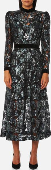 London Women's Floral Multi Sequin Midi Dress