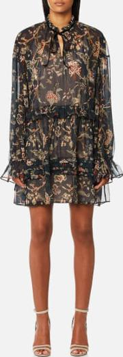 London Women's Forest Printed Drop Waist Mini Dress