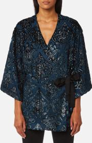 London Women's Lurex Velvet Kimono Cover Up Petrol Blue M Blue