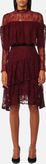 London Women's Paisley Lace Multi Ruffle Dress Burgundy