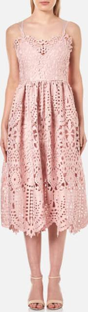 Women's Baroque Guipure Lace Double Strap Midi Dress Dusty Pink
