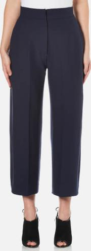 Women's Heavy Crepe Straight Fit Crop Trousers Navy Uk 12 Blue