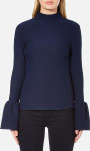 Women's Long Sleeve Crepe T Blouse With Frill Cuff Navy Uk 8 Blue