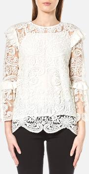 Women's Rose Embroidery Lace Tie Back Blouse Off