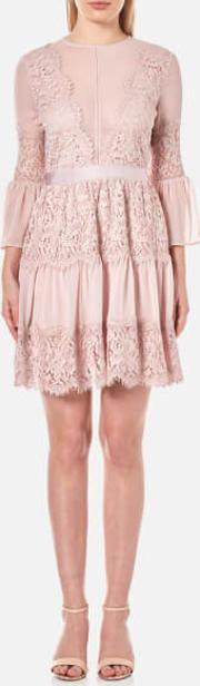 Women's Scallop Cotton Lace Panelled Mini Dress Dusty Pink