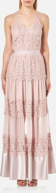 Women's Scallop Cotton Lace Panelled Strappy Maxi Gown Dusty