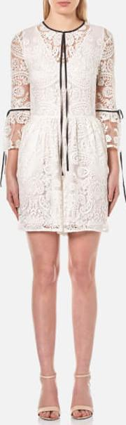 Womens Rose Embroidery Lace Contrast Tie Playsuit