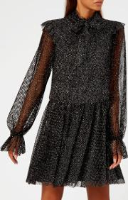 Women's Glitter Net High Neck Dress