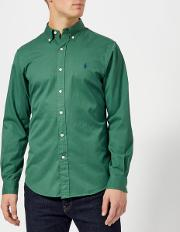 Men's Garment Dye Twill Long Sleeve Shirt Washed Forest