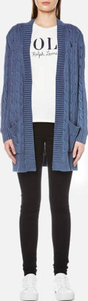 Women's Open Cable Cardigan Indigo