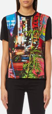 women's city lights print t shirt multi m multi