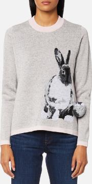 women's lucky rabbit knitted jumper grey s grey