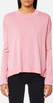 women's oversized crew neck jumper pink l pink