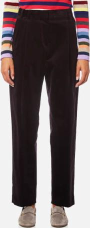women's pleat front corded trousers burgundy eu 42uk 10 burgundy