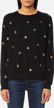 women's star crew jumper black l black