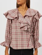 Women's Camilla Blouse Cotton Check Red