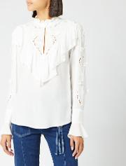 See By Chloe Women's Frill Detail High Neck Blouse