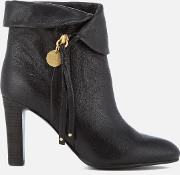 See By Chloe Women's Leather Fold Over Heeled Ankle Boots Nero