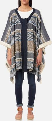 See By Chloe Women's Poncho Textured Coat Multi