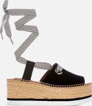 See By Chloe Women's Tie Up Espadrille Mid Wedge Sandals
