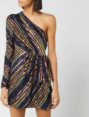 Women's Stripe Sequin Asymmetric Mini Dress
