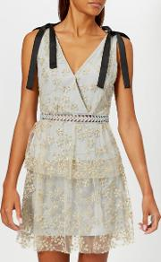 Women's Tiered Floral Embroidered Mesh Mini Dress