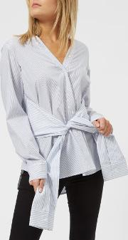 Women's Combo Striped Tie Front Shirt Multi Stripe Us