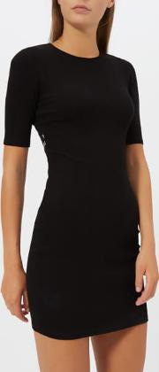 Women's Compact Rib Cut Out Dress With Logo Elastic