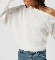 Women's Snap Detail Off The Shoulder Crop Sweater Ivory