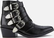 Women's Buckle Side Leather Heeled Ankle Boots Black Leather Uk 6eu 39 Black