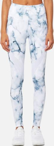 women's windsor tights teal marble m white