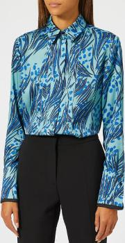 Women's Printed Poly Twill Front Triple Seam Shirt Midnightlapis