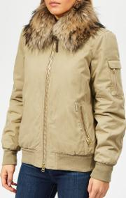 Women's Silverdale Short Bomber Jacket With Fur Collar