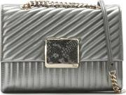 Small Celebrity Pewter Leather Quilted Shoulder Bag