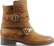 Meghan Tan Leather Double Buckle Ankle Boot