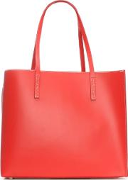 Shore Red Leather Unlined Tote Bag