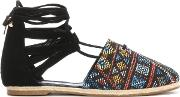 Karline Multicoloured Woven Ankle Tie Espadrilles