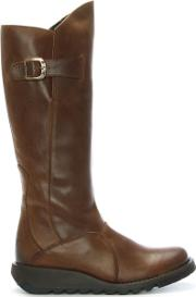 Mol Camel Leather Low Wedge Knee Boots
