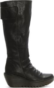 Yulo Chocolate Leather Rouched Knee Boots