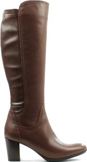 Tan Leather Mid Knee  Boot