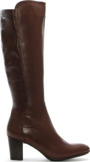 Tan Leather Stacked Heel Knee High Boots