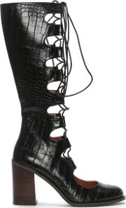 Leicester Square Black Leather Knee High Ghillie Shoe Boots