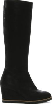 Silent Black Leather Wedge Knee Boots