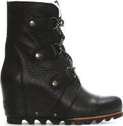 Joan Of Arctic Black Leather Wedge Boots