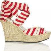 Tomato Soup Red Lucianna Stripe Womens Wedge Sandal