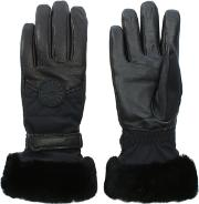 Womens Black Leather Performance Smart Gloves