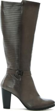 Frey Grey Leather Pleated Knee High Boots